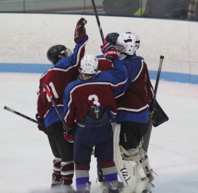 Hockey team huddle