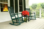 Rocking chairs on porch at meetinghouse