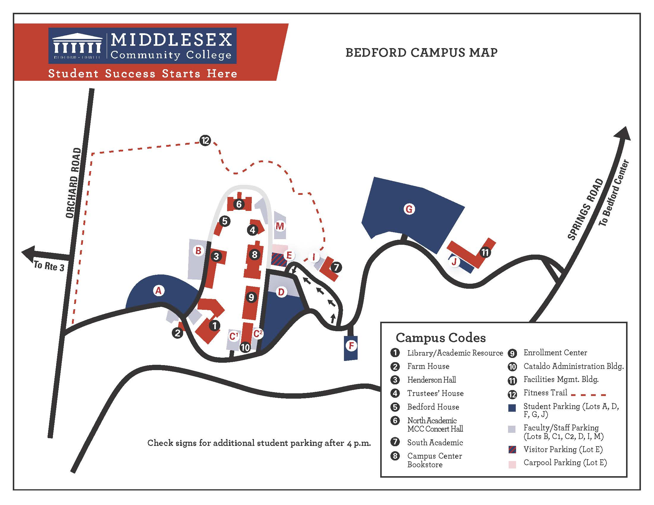 Map of the Bedford Campus